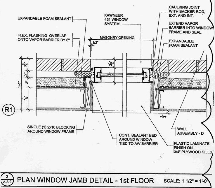 Window jamb detail drawing detail drawings pinterest for Window jamb design