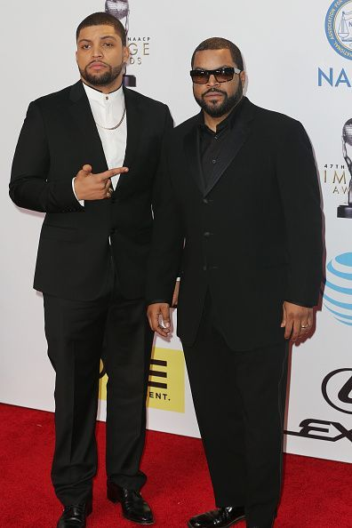 Father-son power duo O'Shea Jackson Jr. with O'She Jackson Sr. (otherwise known as Ice Cube) at the 47th NAACP Image Awards at Pasadena Civic Auditorium in Pasadena, California.