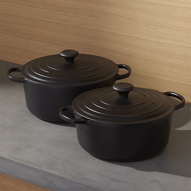 Loving this line in licorice! Le Creuset ® Signature Round Licorice French Ovens with Lid | Crate and Barrel