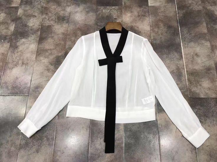 2017 high-end new long-sleeved V-neck sets of fashion shirt women