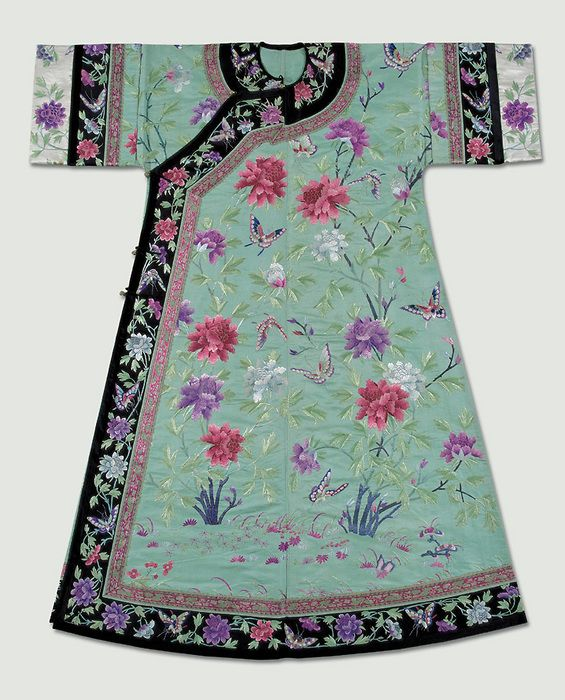 China, Qing Dynasty, aqua silk robe  embroidered in a large and small peony flowers pattern