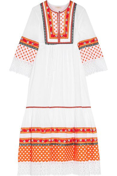 Tory Burch - Annalise Broderie Anglaise-trimmed Embroidered Cotton Midi Dress - White - US10