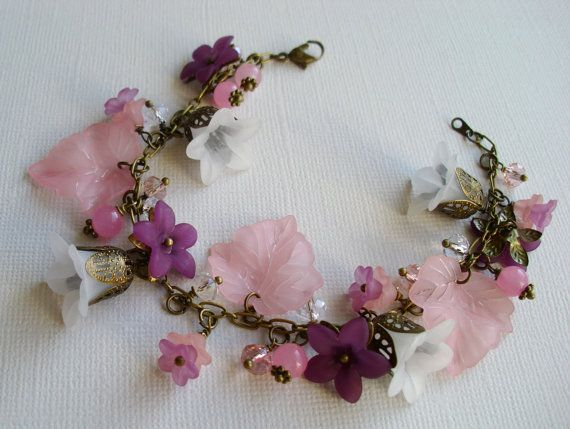 Shades of pink and white bloom bracelet by anordicrose on Etsy, $32.00