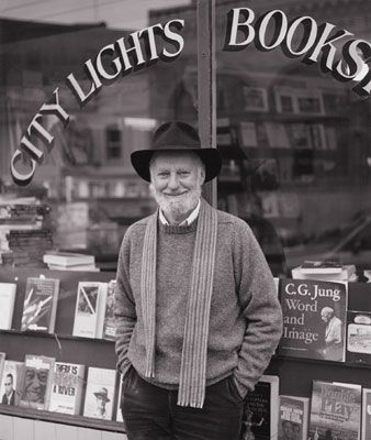 Lawrence Ferlinghetti at City Lights bookstore in North Beach...you can still imagine Kerouac and Ginsburg sitting there.