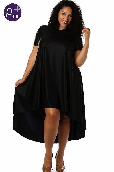 Solo La Fe Dress 1X 2X 3X Black Plus Size Hi Low Asymmetrical Hem ...