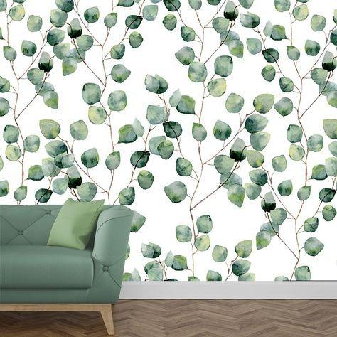 Fotobehang Eucalyptus blaadjes | Het fotobehang Eucalyptus blaadjes geeft een rustige sfeervolle uitstraling aan jouw muur. Het fotobehang is op maat en in verschillende typen behang verkrijgbaar. #vliesbehang #behang #behangen #diy #zelfklevend #interieur #fotomuur #fotowand #verbouwen #nieuwbouw #verhuizen #muur #muren #wand #keuken #slaapkamer #woonkamer #eucalyptus #blaadjes #blad #bladeren #groen #patroon #aquarel