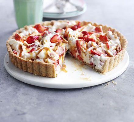 Strawberry hazelnut tart recipe - Recipes - BBC Good Food