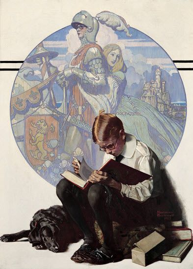 Norman Rockwell painting.   Reading is like getting to travel through time and places without ever Leaving home