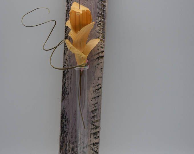 Cristal florero, florero, florero, florero de pared, tubo de ensayo, mural, mural, Woodart, cuadro de madera, madera de idea, Upcycling, de regalo, Holztatoo