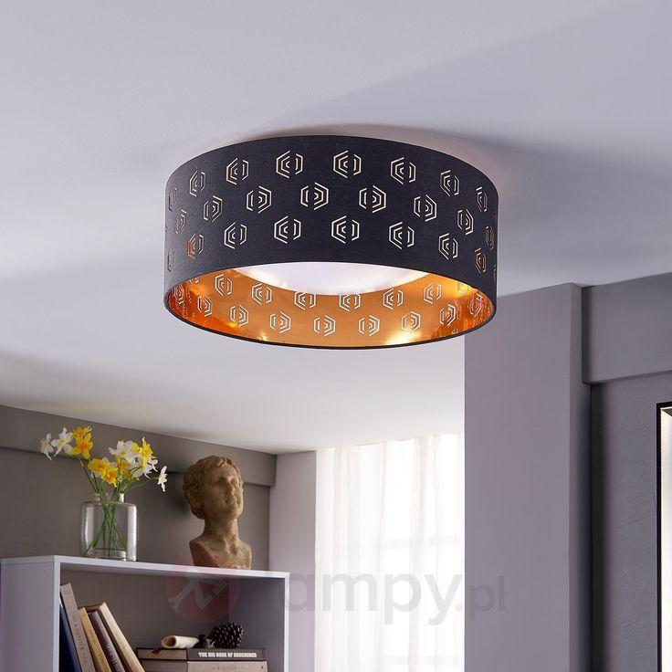 Czarno-złota lampa sufitowa LED Marsel z tkaniny 9620941