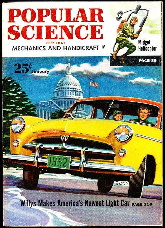 Popular Science January 1952 Willys Car Midget Helicopter How Slot Machines Work Soup V-8 Engine Logging African Jungle Asbestos Floor Tile