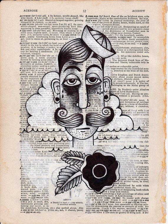 Pg 12. Sailor ORIGINAL Illustration with mixed media on vintage dictionary page. on Etsy, US$50,00