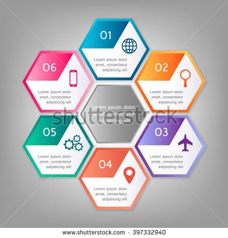 Colorful infographics template for business with 6 options or steps. Vector illustration can be used for infographic, banner, poster, web design, brochure, diagram, graph, presentation and chart