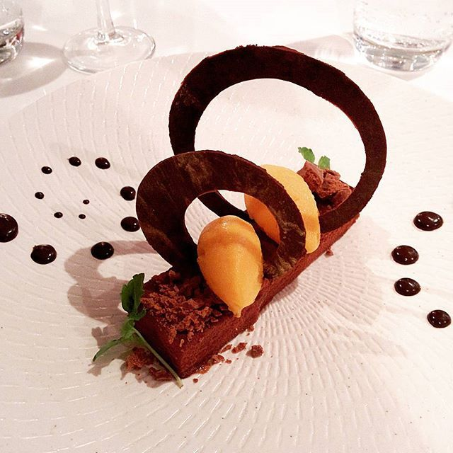 Amazing #dessert -  Alchemy Restaurant in #Brisbane has a lot to offer with this #chocolate mousse tart with #mango #sorbet
