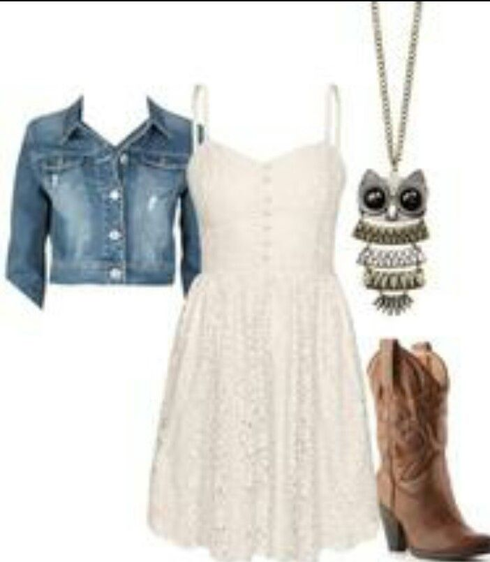 I love the combination.... cowboy boots and dress