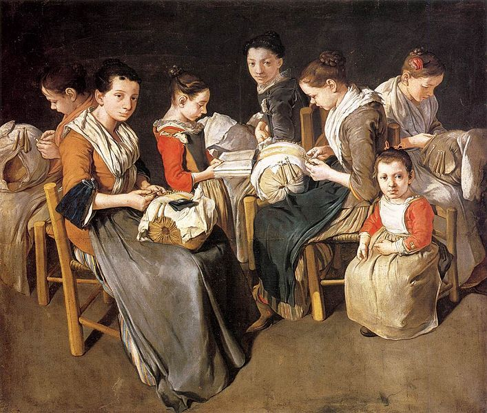 """Women Working on Pillow Lace (The Sewing School)"", 1720s, by Giacomo Ceruti (Italian, 1698-1767)"