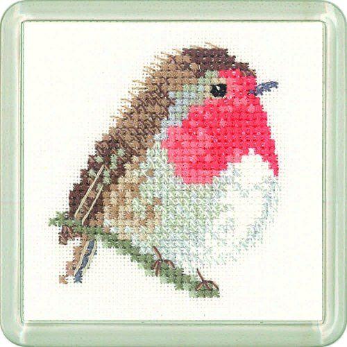 Robin Coaster Kit - Heritage Crafts cross stitch kit