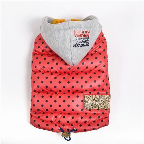 Warm Polka Dot Winter Waterproof Dog Coat Jacket for Chihuahua Small - Large Dogs - XL