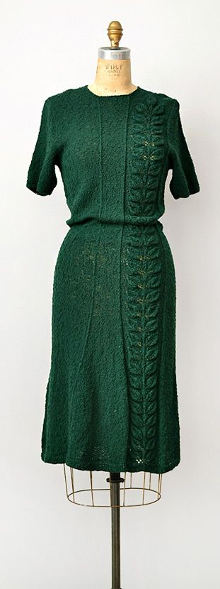 1930s green knit dress with leaf motif via www.adoredvintage.com.  I love this color!
