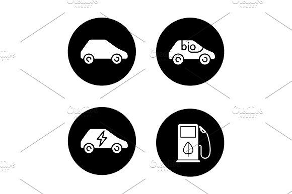 Eco friendly cars icons set Graphics Eco friendly cars icons set. Bio, electric vehicles, eco fuel concept. Vector white silhouettes illu by Icons Factory