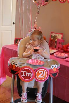 Elmo birthday party for a girl, second birthday, pink red orange Elmo birthday party, sesame street birthday party, Elmo cake, Elmo birthday poster, birthday chalkboard