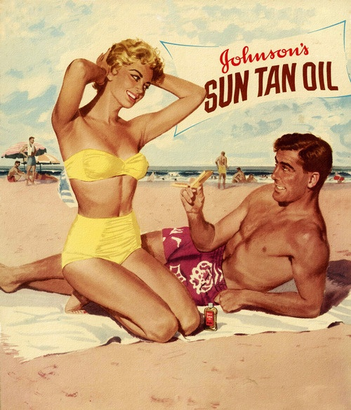 Bronzed and beautiful thanks to Johnson's Sun Tan Oil. #vintage #1950s #ad #summer #beach