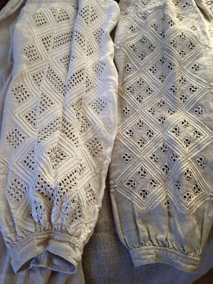 The sleeves of women's shirts. Sarny raion, Rivne region, Polissya, Ukraine. From the collection of Ustia Stefanchuk