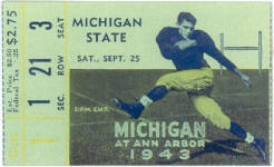 1943 at Ann Arbor: Game Cancelled. The Spartans cancelled their entire football schedule in 1943.  Due to World War II, Michigan State had only one returning player.  Michigan rescheduled a game with Western Michigan instead.  Rather than re-issuing tickets, the Michigan vs Michigan State ticket shown here was valid for entry to the Michigan vs. Western Michigan game.   Michigan won that game 57-6.