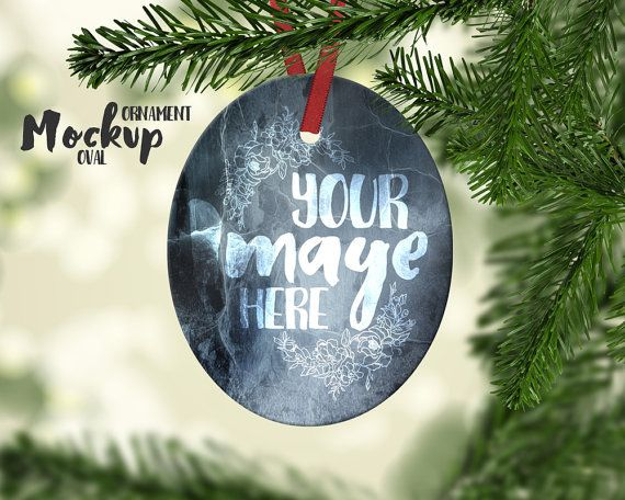 Oval Shaped Christmas Ornament mockup by styledproductmockups