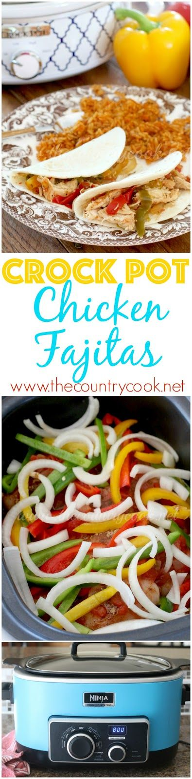Crock Pot Chicken Fajitas recipe from The Country Cook - a perfect slow cooker meal! This was so easy but the chicken was so juicy and had tons of flavor.
