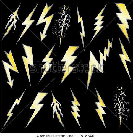 Stock Vector Lightning Bolt Set Gold Lightning With