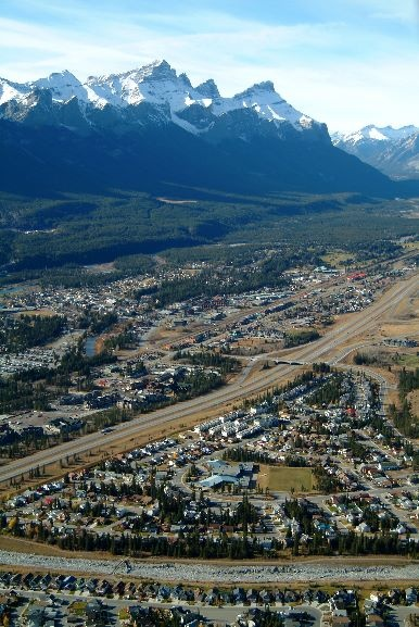 Aerial view of Canmore, AB
