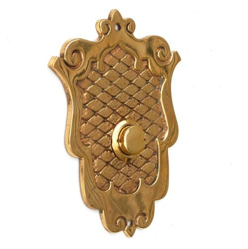 Antique Shield Push Button Doorbell Cover Plate Buzzer Door Bell Electric Vtg | eBay