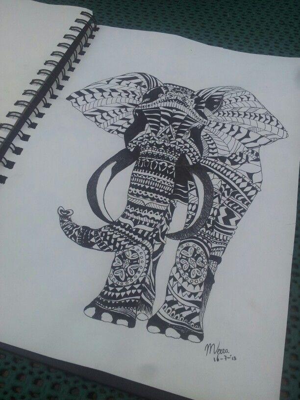 Olifant!! Met Indische inkt en een kroontjespen.een voorbeeld van Indische inkt. Ik vond wel passend, zeker omdat olifant iets typisch Indisch is.