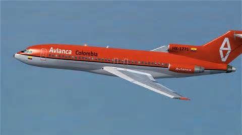 Avianca Colombia Boeing 727-100 in flight.