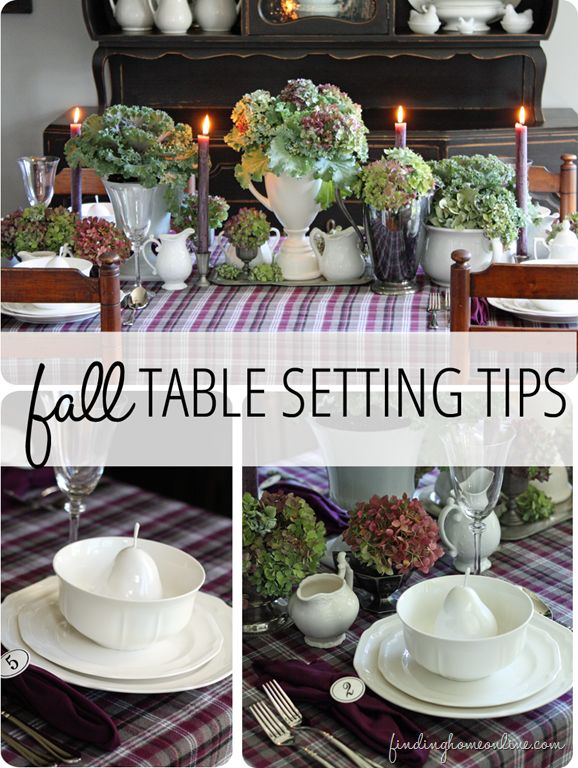 Simple tips for setting you table (tablescape) for fall - including how to easily make a custom tablecloth and napkins.