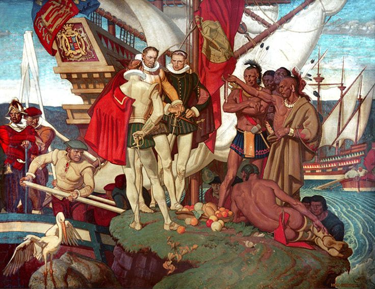 Panel from the mural in the  Warwick Hotel Illustrated by Dean Cornwell Completed in 1938