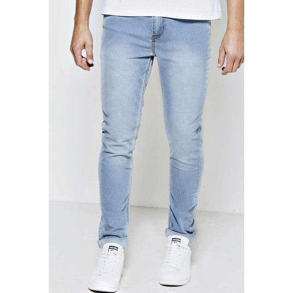 BoohooMAN Blue Stone Washed Stretch Skinny Fit Jeans ($30) ❤ liked on Polyvore featuring men's fashion, men's clothing, men's jeans, blue, mens stretch skinny jeans, mens stonewash jeans, mens blue jeans, mens acid wash jeans and mens slim fit jeans