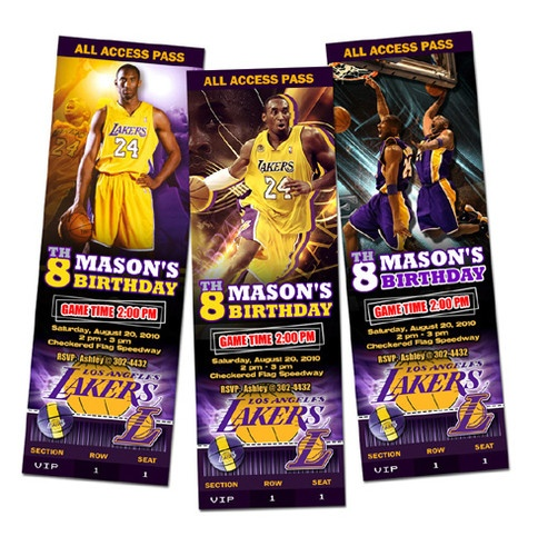 La Lakers Birthday Party Invitation Ticket Custom Card Basketball Any Team | eBay