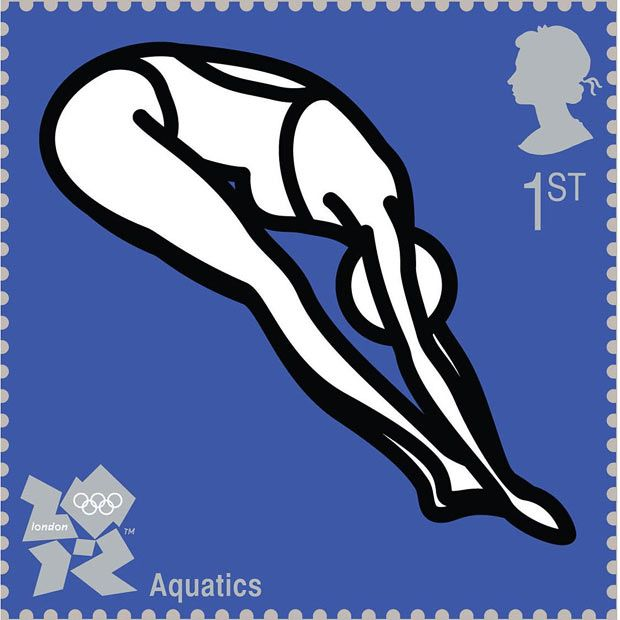 A diver by Julian Opie Royal Mail first class postage stamps launched for London 2012 Olympic Games