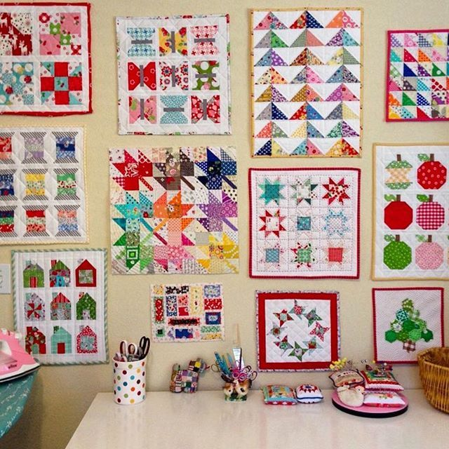 #patchworkparty by @corianderquilts #quiltsondisplay Some of the mini quilts I've made  ❤️✂️❤️