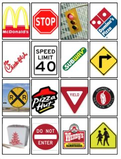 Environmental print symbol printables.  I think I'd leave out the unhealthy fast food symbols and focus more on traffic signs.  The railroad crossing sign is especially cool!