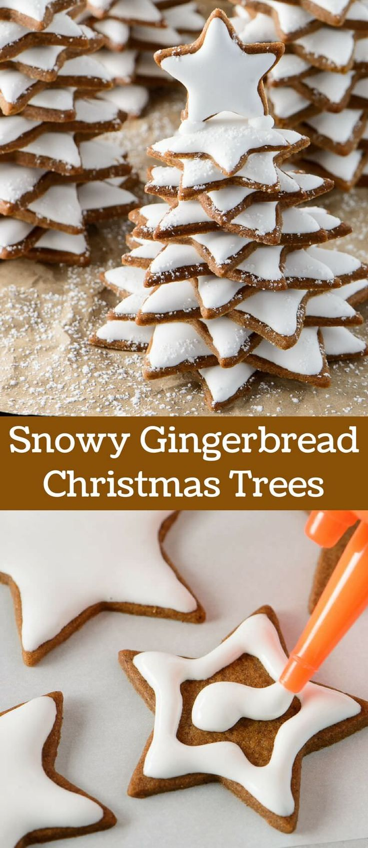 Soft Snowy Gingerbread Christmas Trees make a wonderful holiday gift. Turn a traditional Christmas cookie into a fun and magical gift.  via @introvertbaker