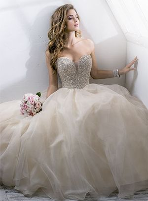 Bridal Gowns: Maggie Sottero Princess/Ball Gown Wedding Dress with Sweetheart Neckline and Natural Waist Waistline