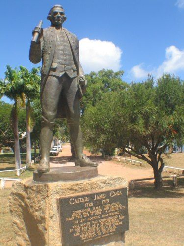 Captain Cook statue, Cooktown Australia. Cooktown is at the mouth of the Endeavour River, on Cape York Peninsula in Far North Queensland where James Cook beached his ship, the Endeavour, for repairs in 1770. Both the town and Mount Cook (431 metres or 1,415 feet) which rises up behind the town were named after James Cook