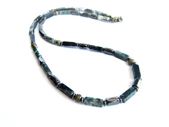 Mens agate necklace gemstone necklace for men agate and