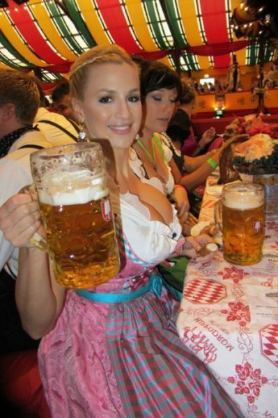 A very sexy lady with German beer at Oktoberfest http://www.oktoberfesthaus.com