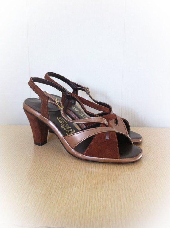 Vintage 1970s Shoes Hush Puppies Brown Suede High Heel Open Toe