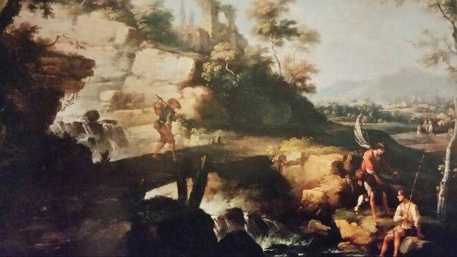 VITTORIO AMEDEO CIGNAROLI ( Torino 1730-1800 ). PAESAGGIO CON VIANDANTI E PESCATORI. 1760 c.- oil on canvas. 72 × 90 cm. Bibliografia : Inedito. Provenance : acquired by Sanpaolo from mercato antiquario. Collezioni d ' arte del Sanpaolo. Inv. No. 410039.