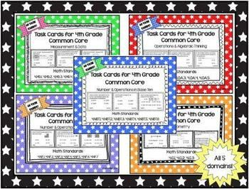 300 Task Cards for 4th Grade Common Core - ALL 5 Domains (Bundle) *Get all 5 at one time and save $5!  All standards included! Student recording sheets & answer sheets included.  60 task cards for each 4th grade math domain. ~By: Kim Miller http://www.teacherspayteachers.com/Product/Task-Card-for-4th-Grade-Common-Core-ALL-5-Domains-Bundle-767809